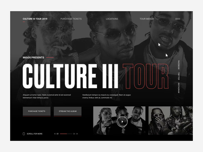 Migos Culture III Website Prototype Load State ux ui layout webdesign motion kinetic typography branding digital hip hop state load interaction website web tour culture migos