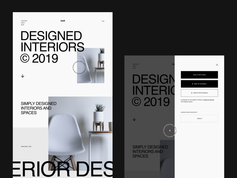 Dwell Concept signup interactive prototype shaders webgl typography webdesign web interactive grid layout decor spaces interior furniture dewll