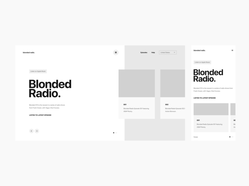 Blonded Radio Wireframe Exploration Pt. 1 icon grid design digital prototype interaction ui cards music typography layout mobile responsive ux ui website frank ocean blonded