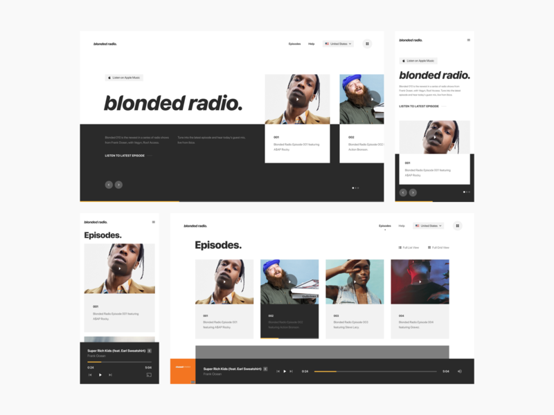 Blonded Radio Design Exploration Pt. 2 layout typography grid design mark digital mobile responsive ux ui website web radio beats apple frank ocean blond