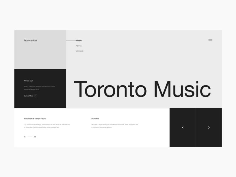 Producer List Wireframe Pt. 1 next icon ux ui design digital branding componenet carousel minimal typography layout grid website web rap hip hop beats music producer
