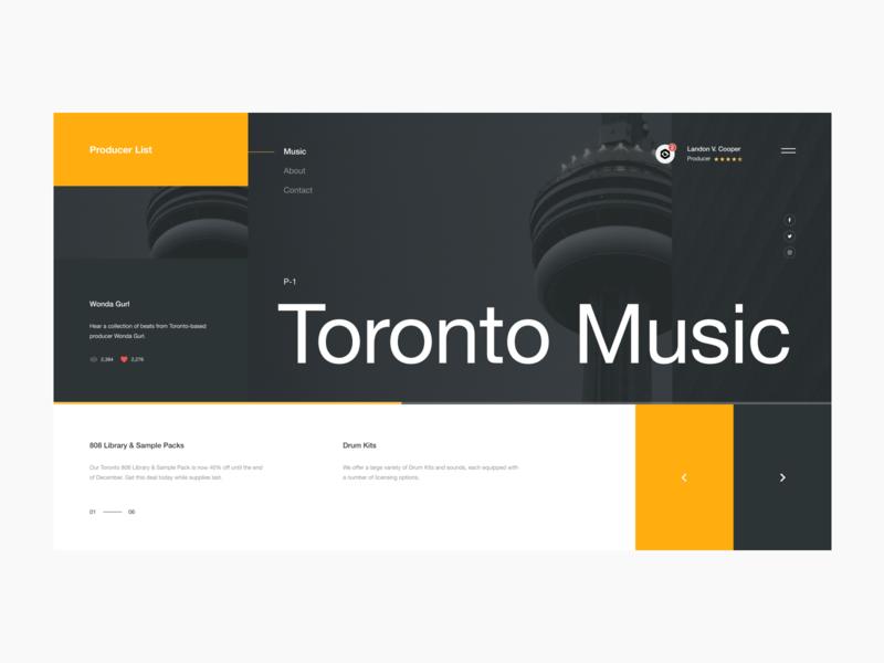 Producer List Website Pt. 2 hip hop minimal identity brand typography design digital building columns grid layout canada toronto ux ui website web