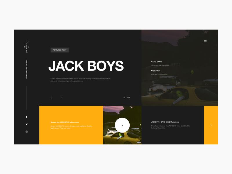 JACK BOYS Website Website Pt. 2 website ux icon ui digital interactive prototype interaction interactive typography layout travis scott rap hip hop grid design app