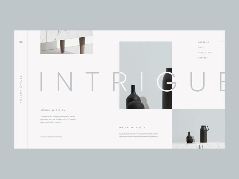 Modern Spaces app ux ui web grid identity vase layout typography furniture design interior modern website