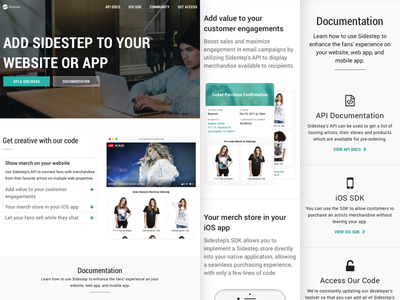 Sidestep Developers Page responsive ui ux web site web design developers landing page