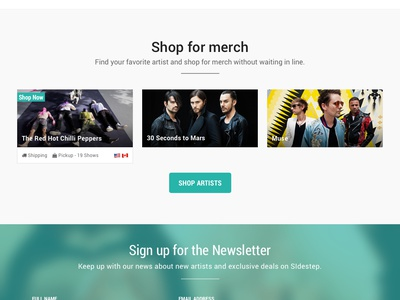 Sidestep   404 ecommerce merchandise musicians music search 404