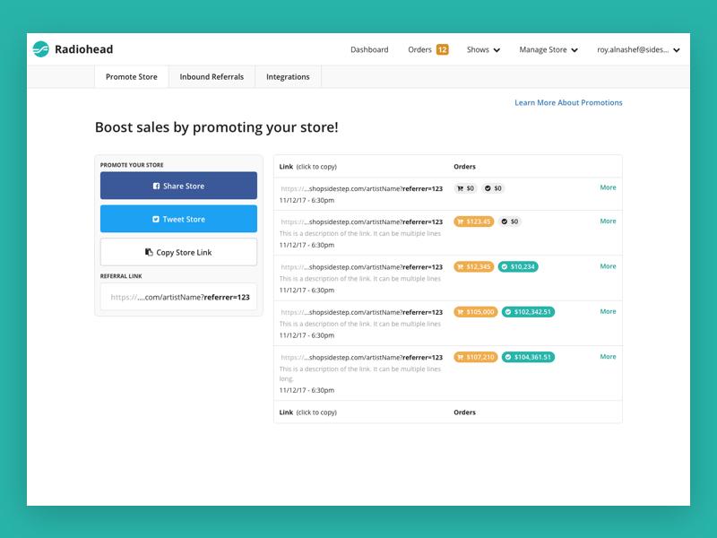 Sidestep - Promotion Links ui ux dashboard