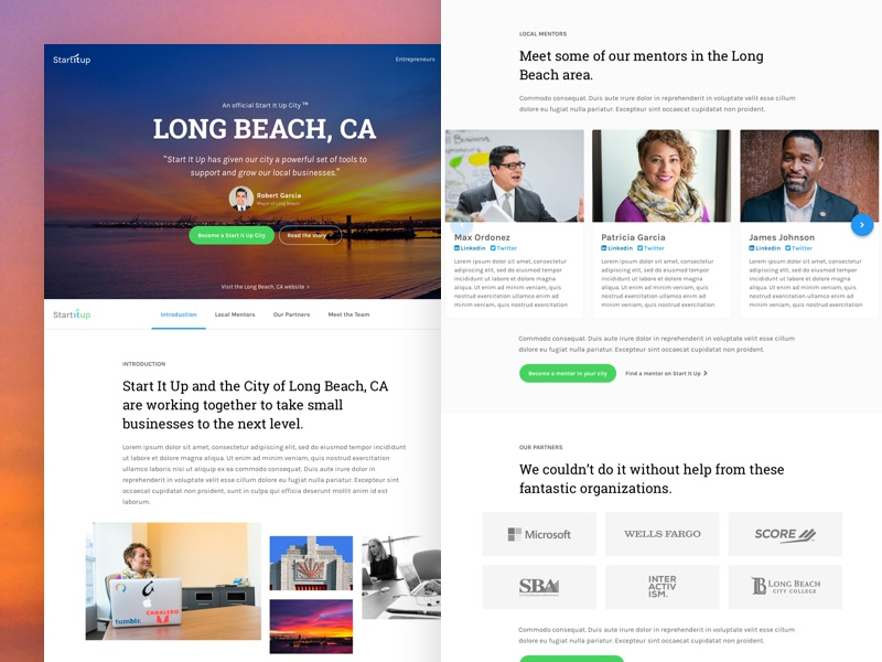 Startitup Case Study - Long Beach, CA ui ux landing page case study