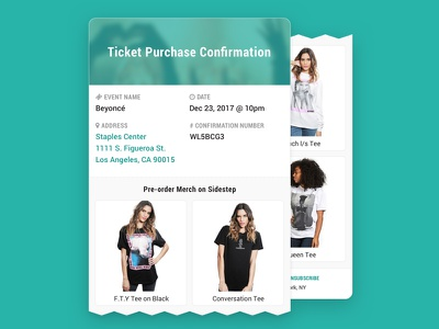Sidestep - API example use case ui ecommerce merch merchandise musicians music