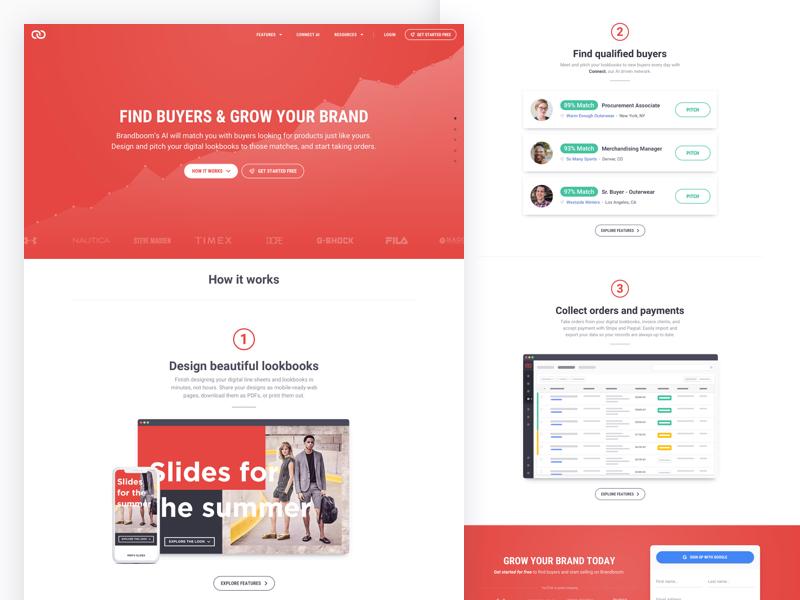 Brandboom home page concept ecommerce wholesale ui ux web design