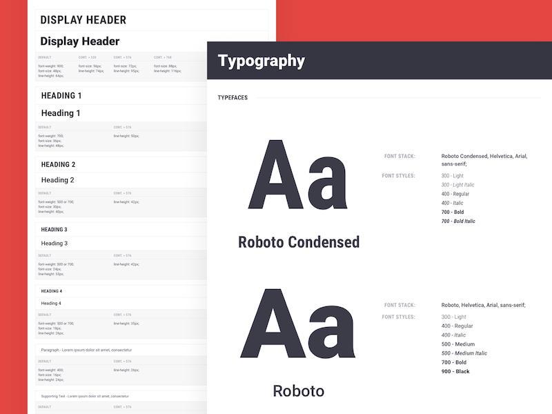 Brandboom Type Guidelines guidelines ui styleguide roboto condensed roboto font type typography