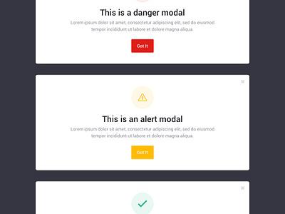 Brandboom Modals feedback alerts roboto ui guidelines styleguide modals