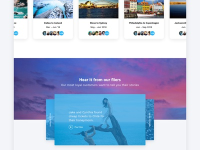 Scott's Cheap Flights - concept web design cards testimonials flights landing