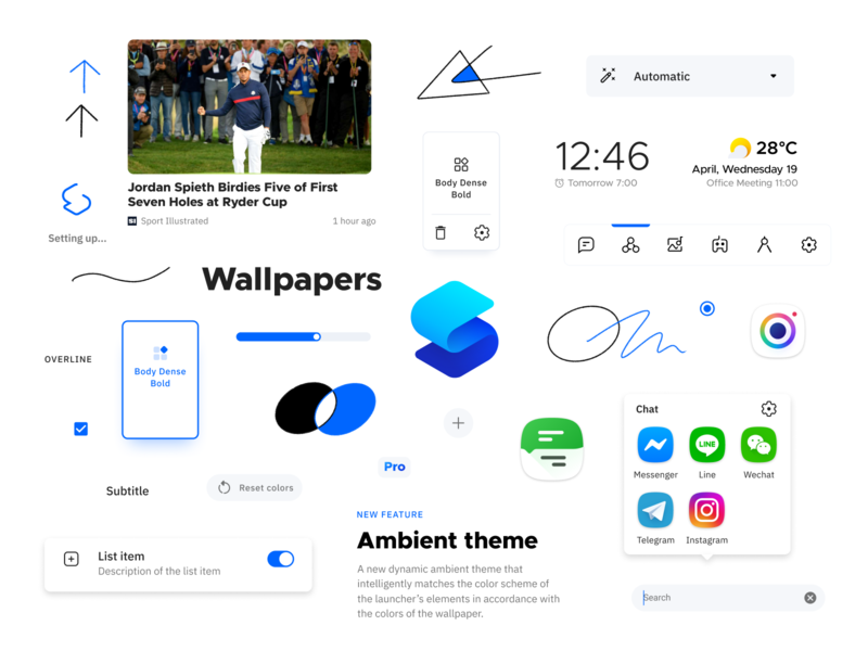Smart Launcher Moodboard design atoms mood icons components identity system moodboard