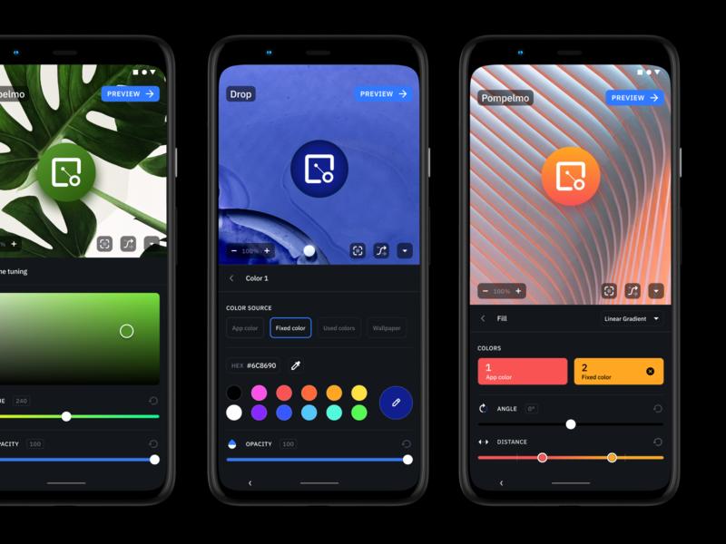 Icon Pack Studio 2 Editor ui picker modern mobile minimal app icon product flat figma editor dark ui dark customization color app