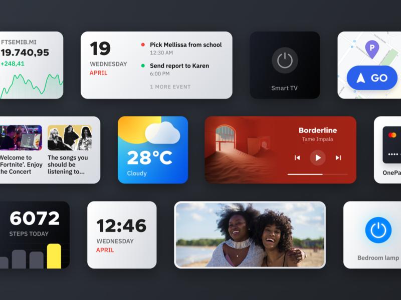 Smart widgets 2 smart app dark mobile customization modern minimal product ui card cards cards ui widgets widget