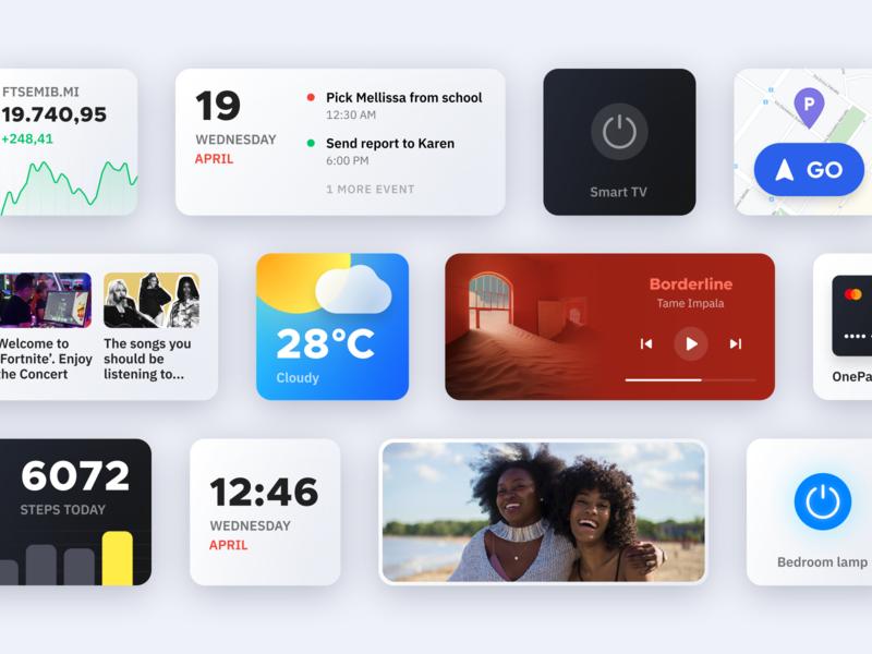 Smart Widgets ios widget widgets cards ui cards card dark ui product minimal modern customization mobile app smart