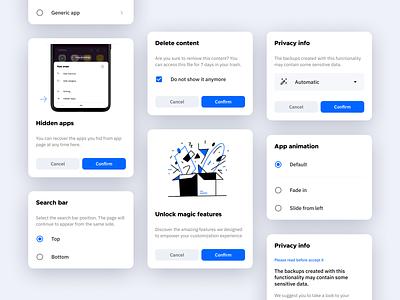 Dialogs pop up widget android menu popup dialog cards card mobile ui minimal app