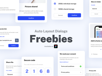 Auto Layout Dialogs - Figma UI Kit widget android ios menu minimal cards card freebie free figma kit ui modal box modal pop up popup dialog box dialog