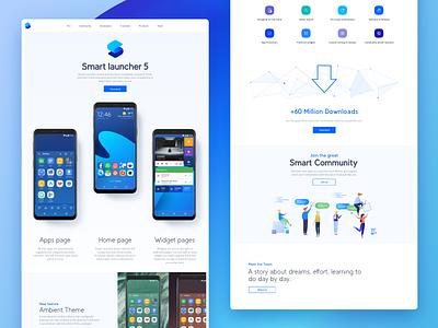 Smart Launcher 5 website minimal launcher smart launcher smart app ui graphic website web