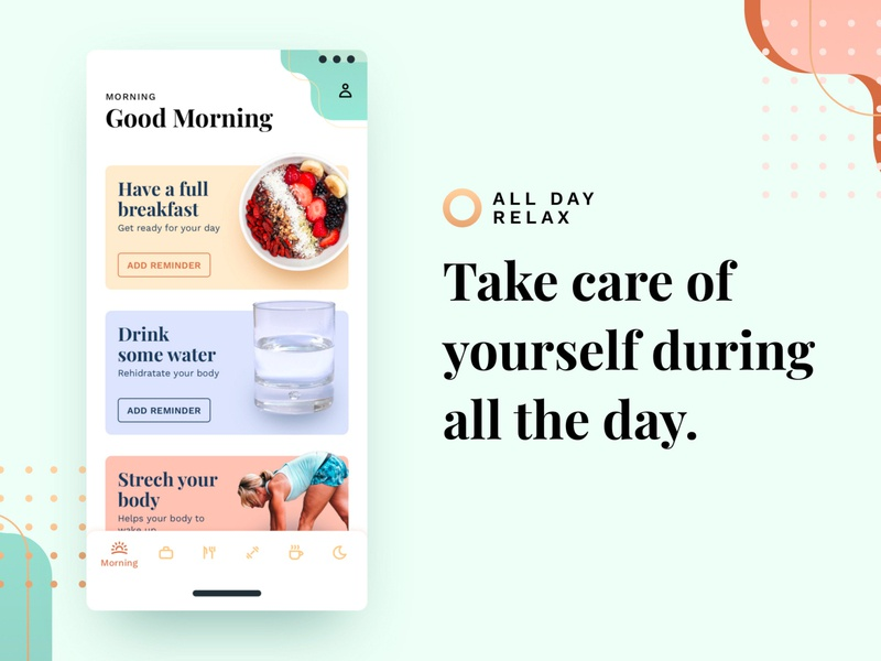 All Day Relax relaxing improvement organizer love meditation fitness food relax ui graphic app