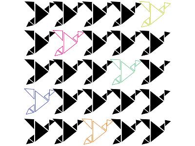 Origami Birds art print origami birds pattern mid mod