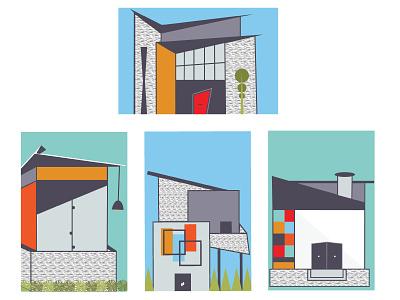 Mid Mod Houses illustration angles lines architecture art prints houses mid mod mid century modern