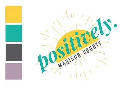 Positively Madison County Community Blog Site identity development typography badge sunny bright retro design logo design