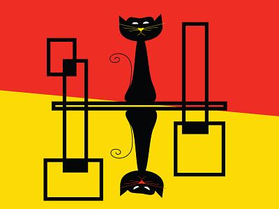 Moody Cats mid mod mid century modern digital art print cat mood