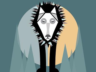 Mid Mod Woof moon sun art print mid century mid mod print animal wolf