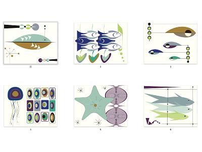 Mid Mod Fish Series art print marine life aquatic animals fish mid century modern mid mod