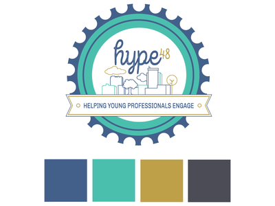 Hype48  badge networking logo illustration