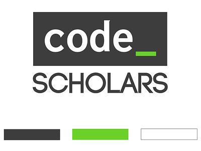 Code Scholars block color slate clean logo
