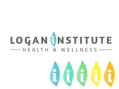 Logan Institute for Health & Wellness water color logo branding identity holistic health