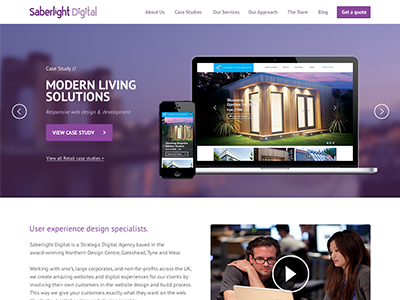 Saberlight Reddesign ui web design homepage agency portfolio case studies ux purple