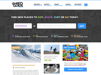 shred Guide Homepage homepage blocks ui web design ux search directory interface