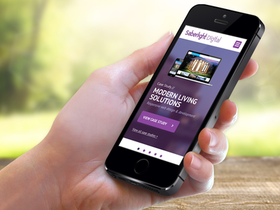 Saberlight Redesign - Mobile Site ui ux mobile homepage carousel portfolio iphone agency purple header
