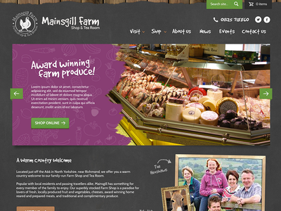 Farm Shop ui ux homepage ecommerce grunge texture chalkboard web design responsive