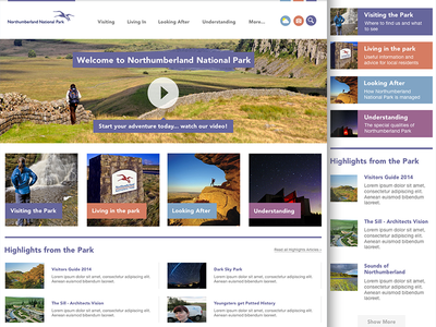 National Park Homepage concept ui ux homepage mobile responsive park nature web design video search news
