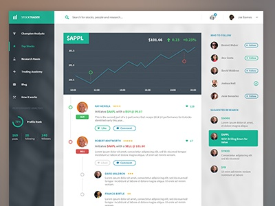 Stock Dashboard  dashboard finance stock trading web app new feed comments ui ux search chart