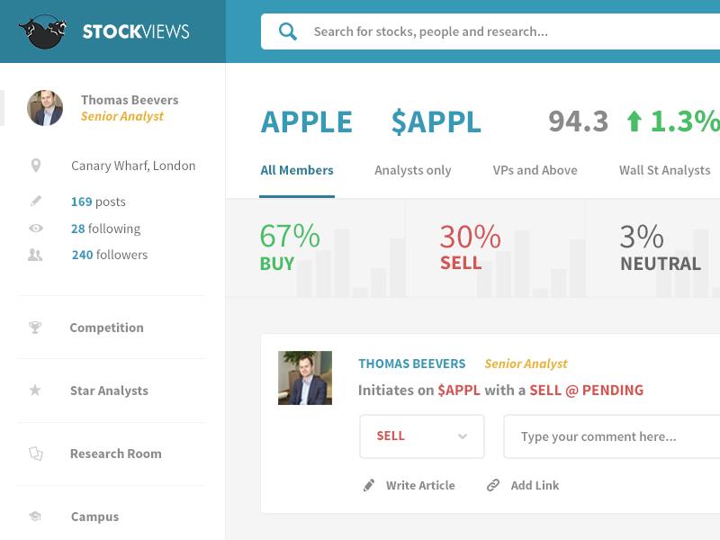 Stock Dashboard dashboard ui ux flat finance graph search navigation web