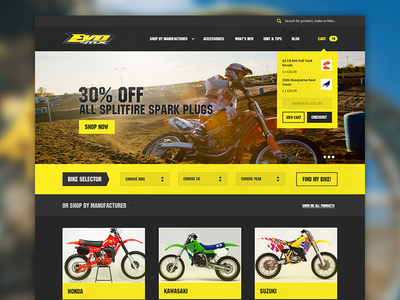 Motocross e-commerce homepage ui ux shop ecommerce homepage cart motocross extreme sports yellow navigation