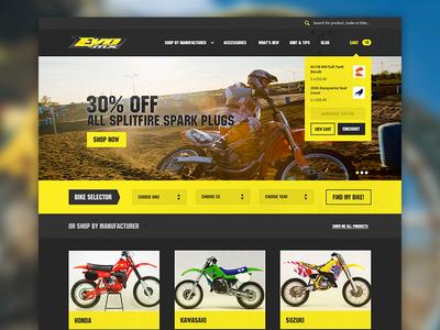 Motocross e-commerce homepage ui ux shop ecommerce homepage cart motocross extreme sports yellow navigation