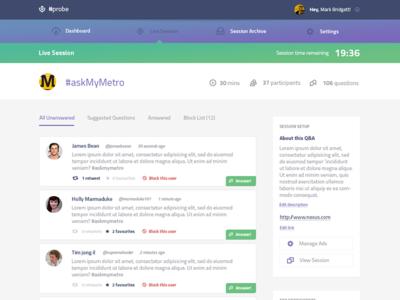 Voxcast Manage Session social ui ux feed stream header gradient twitter qa responsive app
