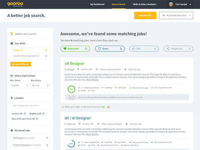 Gooroo - Job Listings filters start up ux ui job results jobs search results listing recruitment