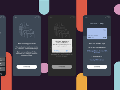 Mobile Banking - Onboarding Wireframes user flows user journey onboarding screens forms animation mobile app wireframes ux bank app bank fintech onboarding