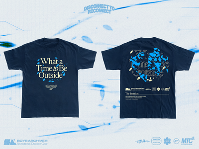 'What a Time to Be Outside' Boys Archive x MTC (T-Shirt) poster fashion brand clothing design screenprint blue planet climate earth graphicdesign graphic