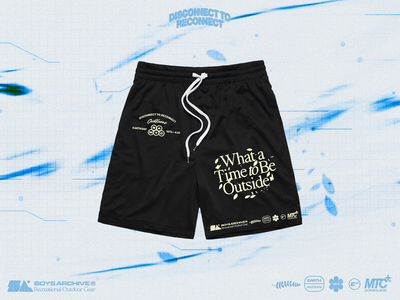 'What a Time to Be Outside' Boys Archive x MTC (Shorts) poster texture grain texture logotype graphic planet earth nature blue graphicdesign typogaphy clothing brand