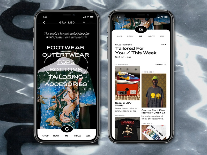 Grailed Mobile App Redesign | Feed grid graphic travis scott nike typography concept redesign brutalism brutalist ui design mobile ui fashion grailed