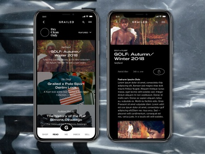 Grailed Mobile App Redesign | Article Feed dark ui tyler the creator golf minimal article design brutalism grid blog feed article mobile uxui fashion app